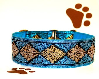"Dog collar ""Miss Turquoise"" Jacquard ribbon in unique colourful style for Pet accessories Fashion"