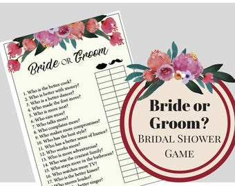 Bride or Groom Bridal Shower Game, Bachelorette Party Game, Printable Bachelorette Game,  Hens Night Game, Wedding Game, Girls Night Game