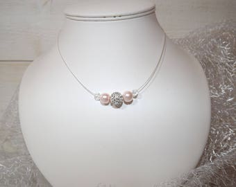 Bridal necklace Crystal and rose - pink collection tender