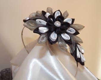kansashi black and white satin headband