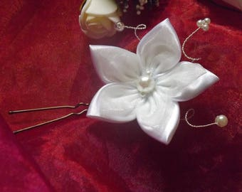 Ivory white satin organza hair stick