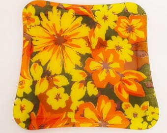 1960's to 1970's Floral Fiberglass Tray