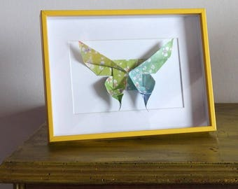 Butterfly green blue origami - 16 x 20, 5 cm