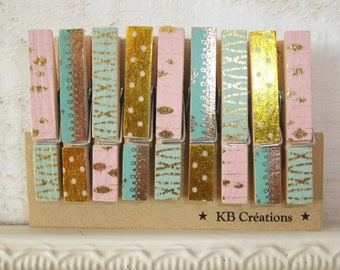9 MINI clothespins decorated linen (No. 61) Rose / Green