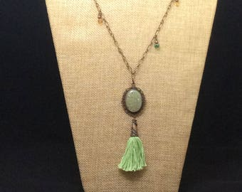 Sparkling Australian Opal and antiqued copper chain necklace with silk tassel and swarovski crystal accents.