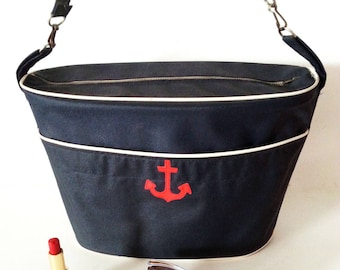 Rigid bag Navy Blue and Red Navy anchor. Retro - 70s
