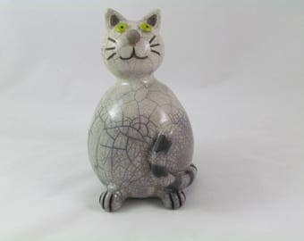 """""""Cat"""" enamel firing Raku sculpture"""
