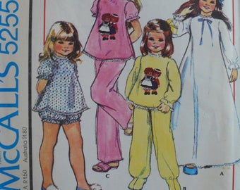 Girls or Children's Nightgown, Pajamas Pattern - Vintage McCalls 5255 - Size X-Small