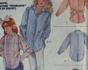 Girls Shirt or Blouse Pattern - Vintage McCall's 2941 - Size Large