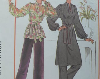 Women's Pullover Dress, Tunic, Pants Pattern, Vintage Simplicity 7714, Size 10 - 12, 1970s