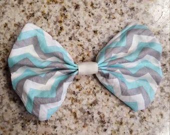 White Light Blue (Cyan) and Grey (Gray) Chevron Hair bow, Girls hair bow, Girls bow, cute hair bow, Chevron Bow
