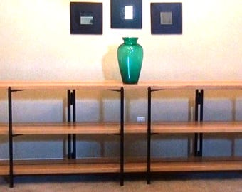 Mid Century Modern Storage Shelf or Bookshelf or Media Center, converts to Dining Table.  Handcrafted from solid wood and solid steel