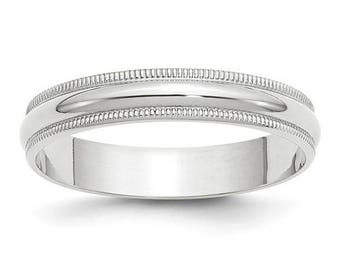 New Solid 10k White Gold Milgrain 4mm Wedding Band Sizes from 4 - 14. Solid Stamped 10k White Gold, Made in the U.S.A.