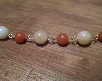 "8.5"" Red Adventurine/Gold Quartz Gold Filled Bracelet"