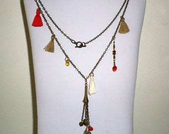 Bohemian chic ethnic necklace zen bronze tassels and glass beads