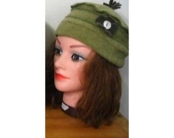 Hat material green fleece