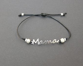 "silver plated ""MOM"" spacer bracelet"