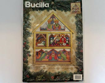 Nativity Cross Stitch Hutch Kit | Bucilla Christmas Holiday | Angels, Manger, Three Wise Men | Includes Wooden Hutch Frame | Kit #83237
