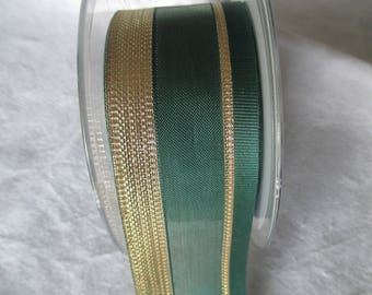 15 m nylon green and Gold Ribbon