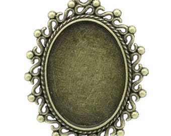 Support cabochon or cameo 18 x 25 cm, antique bronze color.
