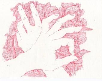 "Felt Pen Illustration, Wall Decoration, Hand Study ""Red Yarn"""