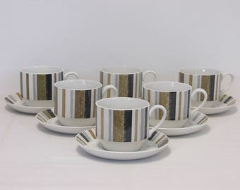 Retro 1960s/1970s Midwinter Fine Shape Queensberry Stripe Tea Cups and Saucers