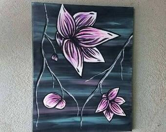 Teal, Pink, Purple Flower Handpainted Canvas