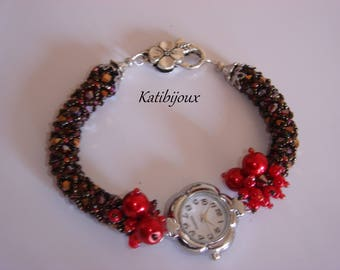Watch bracelet cherry beads