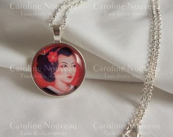 """25cm, illustration """"Portrait of Maiko"""" pendant necklace"""