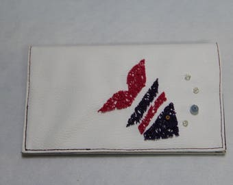 Faux White leather checkbook
