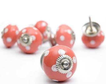 Set of 12 Red Spot Pattern Curved Furniture Drawer Handles Decorative Ceramic Knobs Pulls handles for Door Cabinet Drawer Cupboard