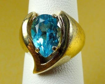 Lady's Vintage Ring .925 Sterling with Blue Topaz Stone sz:5-1/4 6.8g ET5707