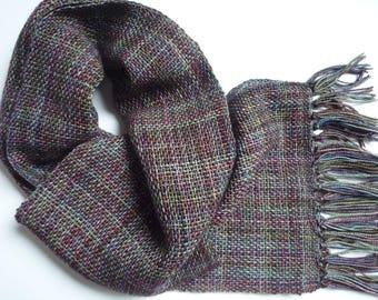 Scarf, Hand woven,  Pure wool,Purple