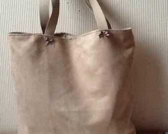 Beige alcantara lined cotton tote bag