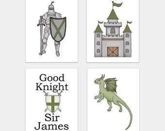 Knight Nursery Art Print, Dragon, Castle, Good Knight, Kids Knight Bedroom Art, Fairy Tale decor, Medieval, Set of 4
