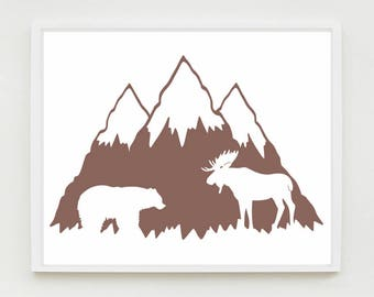 Woodland Nursery Art, Mountain, Bear and Moose Print, Kids Wall Decor, Choose your color