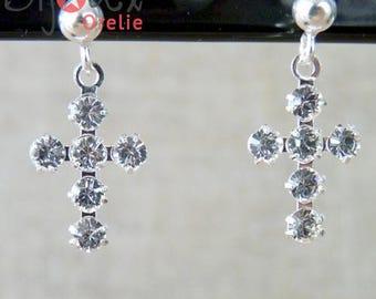 Earrings in silver and Swarovski cross