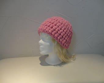hand crocheted pink Beanie soft and warm