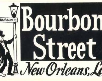 Vintage Style New Orleans Louisiana Bourbon Street  Travel Decal sticker