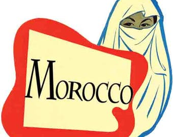 Vintage Style Morocco Africa  Travel Decal sticker