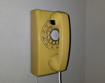 Vintage 70s Pale Yellow Rotary Wall Phone ~ Long White Cord ~ American Classic ~ Working Prop ~ Mid Century Decor