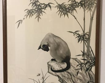Japanese Siamese Cat Painting