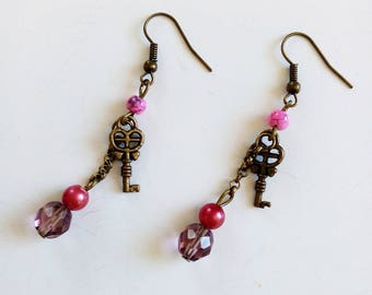 Bronze Pearl Earrings pink and purple and small key