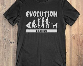 Great Dane Custom Dog T-Shirt Gift: Great Dane Evolution