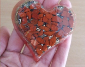 Wonderful Alouminite heart in red jasper for love and passion