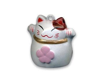 Maneki Neko lucky cat Bell charm pendant