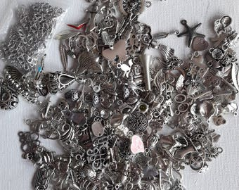 Set of 220 grams of silver metal charms