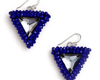 Handmade Blue Resin Earrings Triangle Blue Earrings for Women