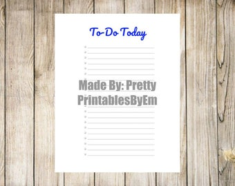 To-Do Today Printable in Royal Blue