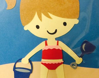 Beach Girl Paper Die Cut